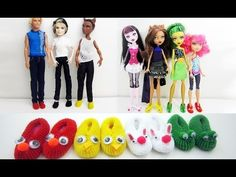 EASY How to make cute slippers / shoes for any male or female dolls (bunny,monster,chick,frog)