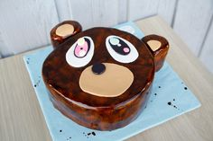 It's the KANYE BEAR! Vanilla cake filled with vanilla custard, covered in buttercream and marshmallow fondant.