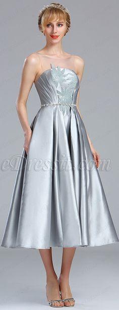 Light Grey Sleeveless Lace Appliques Party Dress #eDressit