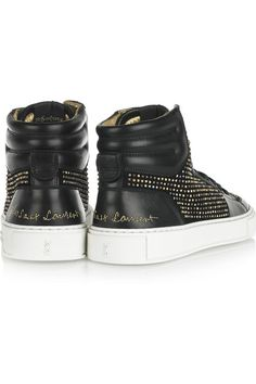 Black suede Black patent-leather, gold, silver, bronze and gunmetal-tone studs, gold stitched designer motifs, round toe, gripped white rubber sole Lace-up front