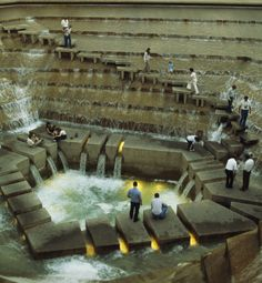 lorettabosence: The Active Pool, Fort Worth Water Gardens, Texas. Designed by Philip Johnson and John Burgee and built in 1974.