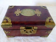 """Redwood Jewelry Box W/Brass Accents 7"""" X 3.5"""" X 4.5"""""""