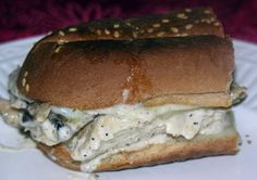 Homemade version of my favorite sandwich from Newk's - the Newk's Q.  Chicken breast, applewood smoked bacon, swiss, and their delicious spicy white BBQ sauce.  I'll be needing to try this!