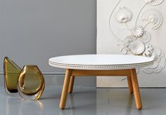G Brogue Coffee Table - an elegant leather-topped, solid wood table featuring intricate wax-thread stitched brogue detailing. Metal Furniture, Unique Furniture, Table Furniture, Contemporary Furniture, Furniture Making, Furniture Design, Furniture Ideas, Coffee Table Grey, White Coffee
