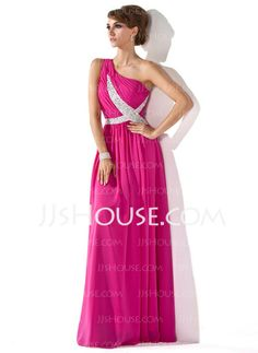 Evening Dresses - $125.49 - A-Line/Princess One-Shoulder Floor-Length Chiffon Evening Dresses With Ruffle Beading (017005592) http://jjshouse.com/A-Line-Princess-One-Shoulder-Floor-Length-Chiffon-Evening-Dresses-With-Ruffle-Beading-017005592-g5592