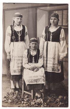 1910s Latvia Latvian Teenage Girls Posing in Folk Dresses