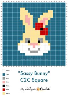 You can use this super cute Sassy Bunny Square in various ways. You can make a decorative (Easter) pillow cover or you can join several squares to make blankets or other decorative items. Crochet C2c Pattern, C2c Crochet Blanket, Pixel Crochet, Crochet Gratis, Tapestry Crochet, Crochet Bunny, Crochet Stitches, Free Crochet, Cross Stitch Cards