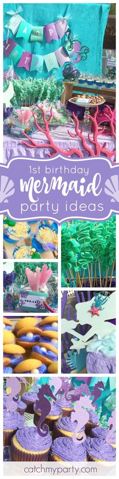 Be blown away with this gorgeous Mermaid 1st birthday party. The cookie clams are adorable!! See more party ideas and share yours at CatchMyParty.com