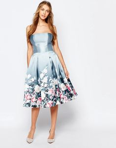 Image 4 ofChi Chi London Bandeau Midi Dress in Sateen Floral Print