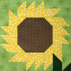 """Starwood Quilter: 12"""" Sunflower block in the book Happy Birthday Kansas! by Linda Frost and published by Kansas City Star Books."""