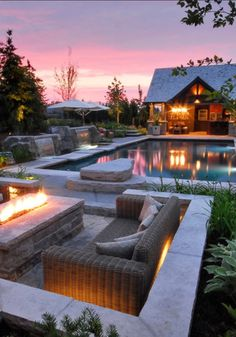 A home with resort style backyard and a beautiful pool and fire pit!