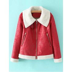 PU Leather Zipper Pocket Faux Shearling Coat (440 ARS) ❤ liked on Polyvore featuring outerwear, coats, faux shearling coat, fake shearling coat, sherpa coat and red coat
