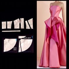 ENG➡️start from a basic bodice with darts and draw the new neckline fit the basic by shaping the side seams and the waist dart at the… Evening Dress Patterns, Wedding Dress Patterns, Dress Making Patterns, Remake Clothes, Sewing Clothes, Textile Manipulation, Pattern Draping, Modelista, Fashion Line