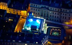 An unusual view of Bath Spa at night.