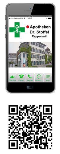 Mit der Dr. Stoffel Apotheken - App können Sie, auch wenn Sie viel unterwegs sind, trotzdem mit Ihrer Dr. Stoffel Apotheke in Rapperswil, Schweiz in Verbindung. Diese kostenlose Apotheken -App hilft Ihnen hierbei. Alle Infos zu Ihren Dr. Stoffel-Apotheken rund um die Uhr und gleich, wo Sie gerade sind.
