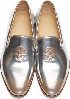 Alexander Mcqueen: Silver Shade Metallic Leather Skull Loafers