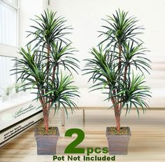 TWO 6' Yucca Artificial Trees with 5 Heads, with No Pot, *** Learn more by visiting the image link.