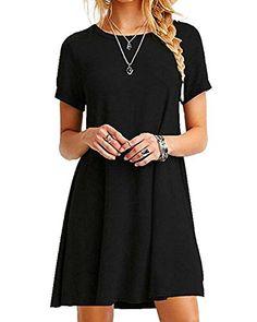 aebf24f00e2027 YOINS Women s Mini Dresses Short Sleeve Casual Loose Tunic Round Neck Long  Shirt Mini Dress Black