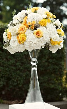 yellow and white and grey wedding flowers Alicia Keats Weddings + Events