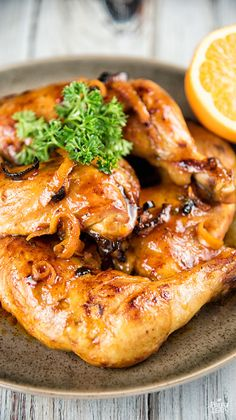 """Orange and Thyme Chicken. We tried grilling this chicken rather than baking. Seemed a bit too """"orange-y"""" in my opinion. Probably won't make again."""