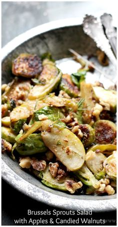 ... tossed together with tart apples and garnished with candied walnuts