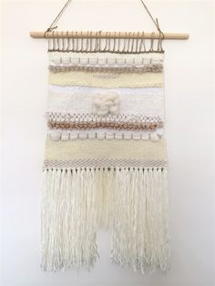 Hand woven wall hanging, tapestry, weaving - 'Bianca' by Tat