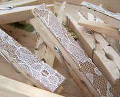 Cute for decorating a country wedding. SALE Lace Clothespins Antique White DIY Wedding by theepapergirl, $6.40