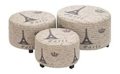 Paris Leather Ottoman Set at Joss & Main Paris Living Rooms, Paris Rooms, Paris Bedroom, Paris Bedding, George Nelson, Thema Paris, Paris Room Decor, Paris Theme Bathroom, Handmade Ottomans