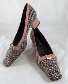 J Renee Tweed Pink Leather Trim Chunky Heel by GhicChicBoutique, $35.00
