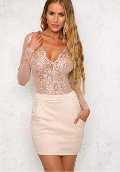 c8608cf33c Pink Patchwork Sequin Elastic Waist Polyester Short Jumpsuit. Mesh BodysuitOnly  FashionWomens ...