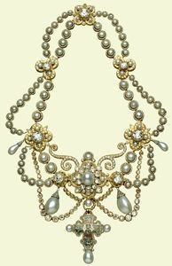 The Dagmar Necklace, 1863   Given by King Frederick VII of Denmark to Princess Alexandra on her marriage to the Prince of Wales (the future King Edward VII) in 1863. It is set with 118 pearls and 2,000 diamonds. The gold and enamel cross is a replica of the twelfth-century Dagmar Cross