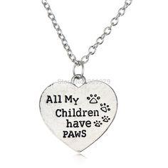 Love Children Cat Dog Silver Plated Pendant