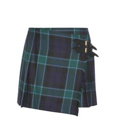 Burberry Brit - Wool check wrap skirt - Crafted from a wool check in dark hues of green and navy, this Burberry Brit skirt is…