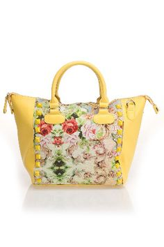 Nila Anthony Merle Studded Floral Tote Bag in Yellow