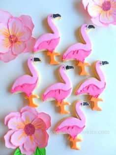 Flamingo cookie tutorial - CakesDecor