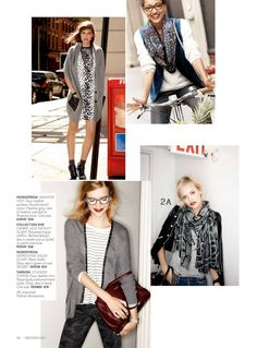 Love that top right look--ivory sweater, neutral colored pants, and a vest+scarf! So cute and easy!  Nordstrom September 2013 Finishing Touches First Catalog