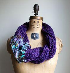 Bohemian knit loop infinity scarf. Purple. Seafoam. by Happiknits, $76.00