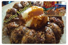 STUFFING MEAT LOAF  1 package Stove Top Stuffing mix, dry 1 c. warm water 1 1/2 lbs. lean ground beef 2 eggs, slightly beaten 1 package onion soup mix  Preheat oven 350°. Coat inside of bundt pan with cooking spray.  Place warm water, onion soup mix & dry stuffing mix in a bowl. Mix well. Let sit for 5 minutes.  Add eggs & ground beef. Mix well.   Place evenly into bundt pan. Also put in  individual loafs.  Bake 1 hour or until no longer pink inside.  Remove & allow to rest 5 minutes.