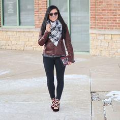 Plaid blanket scarf, Express minus the leather moto jacket, American Eagle knit leggings