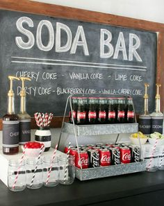 soda bar bar a bulles idee mariage original animation mariage fun Kino Party, Wedding Reception, Our Wedding, Unique Wedding Food, Wedding Food Bars, Sweet Table Wedding, Reception Games, Dream Wedding, Bar A Bonbon