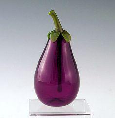 Eggplant Art-Glass Perfume Bottle by Garrett Keisling