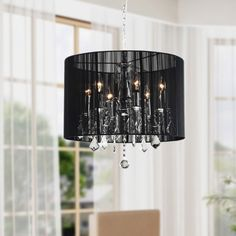 Chrome and Black 6-light Crystal Chandelier | Overstock™ Shopping - Great Deals on Chandeliers & Pendants