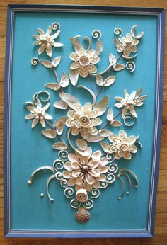 Vintage Beautifully Detailed Floral Shell Art by KatiquesTwo, $75.00