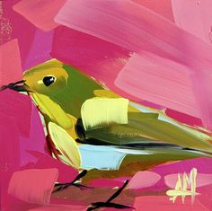 Vireo no. 12 original bird oil painting by Angela Moulton 5 x 5 inches on panel ready to ship August 2