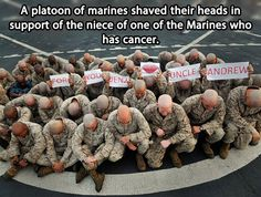 a platoon of marines shaved their heads in support of the niece of one of the marines who has cancer.