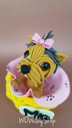 """Are you looking for a topper that features your favourite animal? This eye-catching and original Yorkie cake topper will give your cake a quirky wow factor with this cute. So really there' s no excuse not to have it, right? Beautiful decoration on your dog birthday cake or figurine for collectors...it is a perfect keepsake gift. Material: High quality and special non-toxic polymer clay. They last a lifetime. Dimensions: 2,3"""" x 2,3"""" (6 x 6 cm) Dog Cake Topper, Cake Toppers, Dog Birthday, Birthday Cake, Polymer Clay Cake, Clay Figurine, Beautiful Decoration, Yorkshire Terrier, Yorkie"""