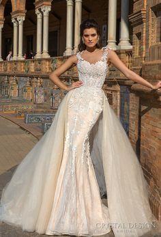crystal design 2017 bridal sleeveless sheer jewel sweetheart neckline heavily embellished bodice lace elegant fit and flare wedding dress a line overskirt sheer back sweep train (martina) mv