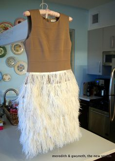 DIY No Sew Feather Dress Step 9