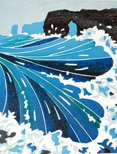 Sea stacks linocut original print inspired by English coastline