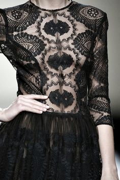 Black lace dress, close up fashion details // Esther Noriega Fall 2015